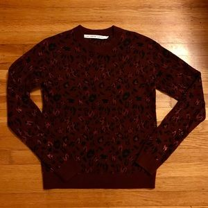 & Other Stories Burgundy Leopard Sweater - Size S